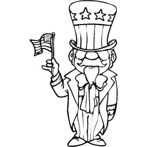 American Uncle Sam Flag Day Coloring Pages