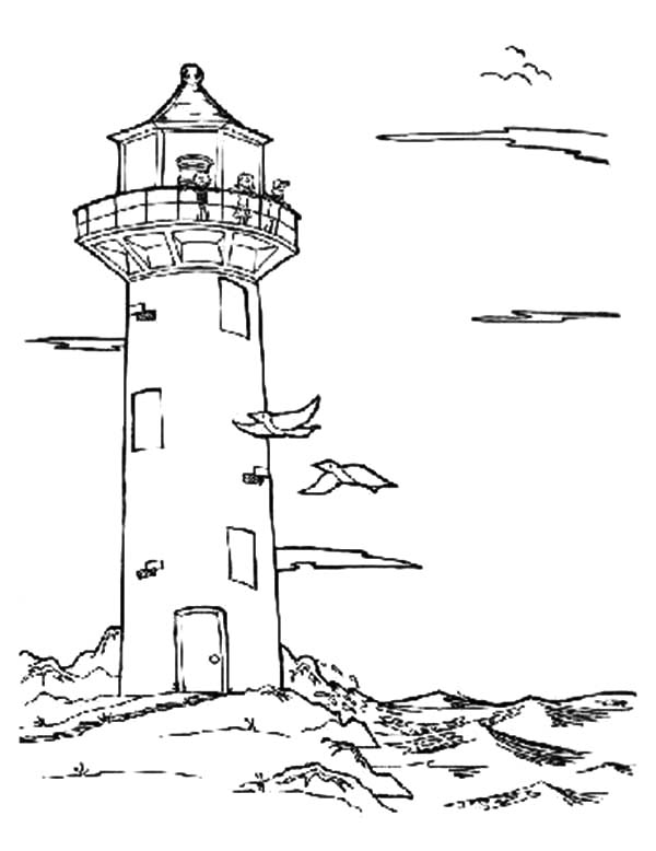An Old Lighthouse at the Beach Coloring Pages