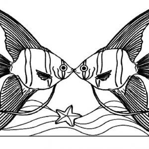Angelfish Couple Kissing Coloring Pages