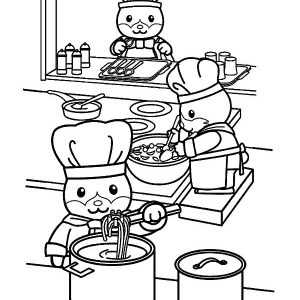 Animal Cooking Kitchen Coloring Pages