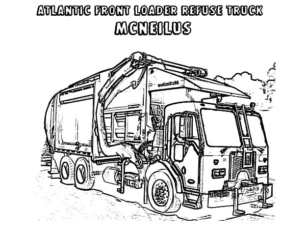 Atlantic Front Loader Garbage Truck Coloring Pages Download