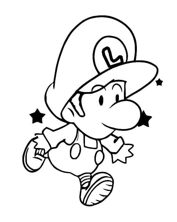 Baby Luigi Learn To Jump Coloring Pages Download Print Online