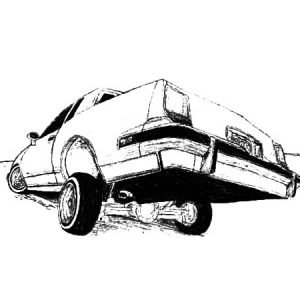 Back Jumping Lowrider Cars Coloring Pages
