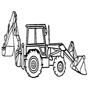Backhoe Loader Excavator Coloring Pages