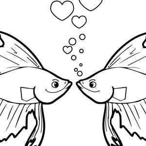 Beautiful Kissing Fish Coloring Pages