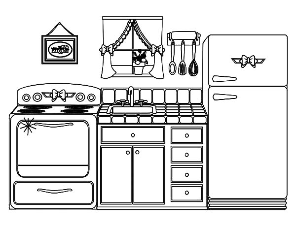 Beautiful Kitchen House Coloring