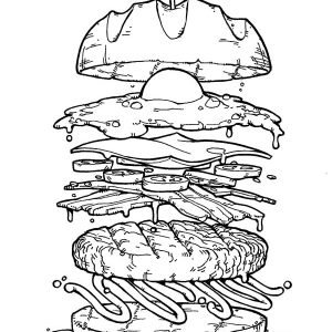 Big Burger With Fried Egg Coloring Pages