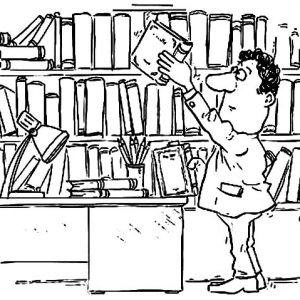Book Reader In Library Coloring Pages