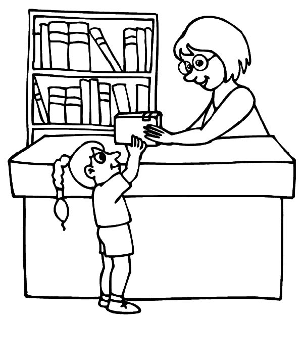 Borrowing Book From Library Coloring Pages - Download & Print Online Coloring  Pages For Free Color Nimbus