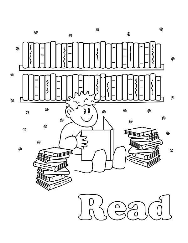 Boy Reading Books In Library Coloring Pages Download Print