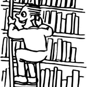 Boy Riding A Ladder Through A Library Coloring Pages