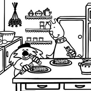 Breakfast On Kitchen Table Coloring Pages