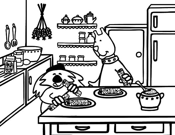 Breakfast On Kitchen Table Coloring Pages Download Print Online