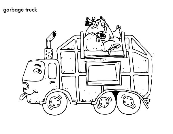 Garbage Truck, : Cartoon Garbage Truck Coloring Pages