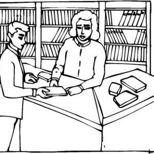 Checking Book In Library Coloring Pages