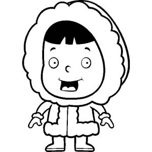 Chibi Eskimo Girl In Warm Clothing Coloring Pages