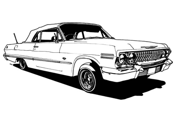 Classic Car Modication Lowrider Cars Coloring Pages Download