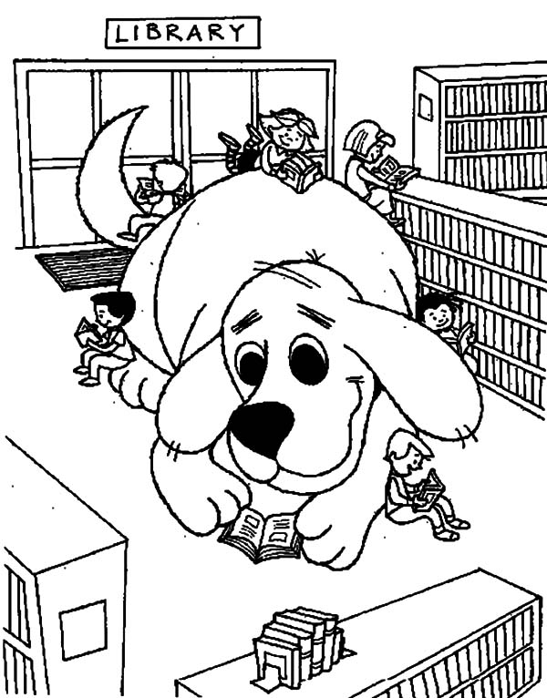 Dog In Library Coloring Pages