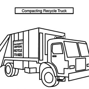 Compacting Recycle Garbage Truck Coloring Pages