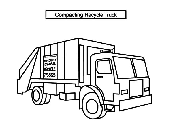 Garbage Truck, : Compacting Recycle Garbage Truck Coloring Pages
