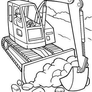 Construction Equiptment Excavator Coloring Pages