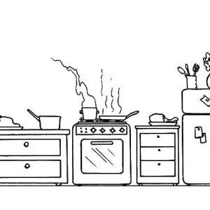 Cooking Acitvity In The Kitchen Coloring Pages