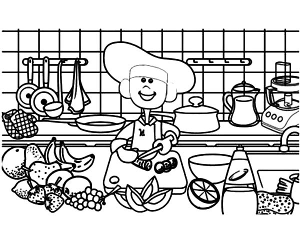 Cooking Demonstration In Kitchen Coloring Pages - Download ...