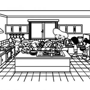 Cooking Show Kitchen Coloring Pages