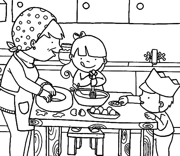 Cooking With Mom In The Kitchen Coloring Pages Download Print