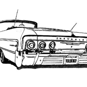 Customized Lowrider Cars Coloring Pages