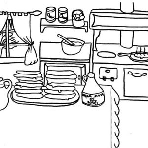 Delicious Pancakes On Kitchen Table Coloring Pages