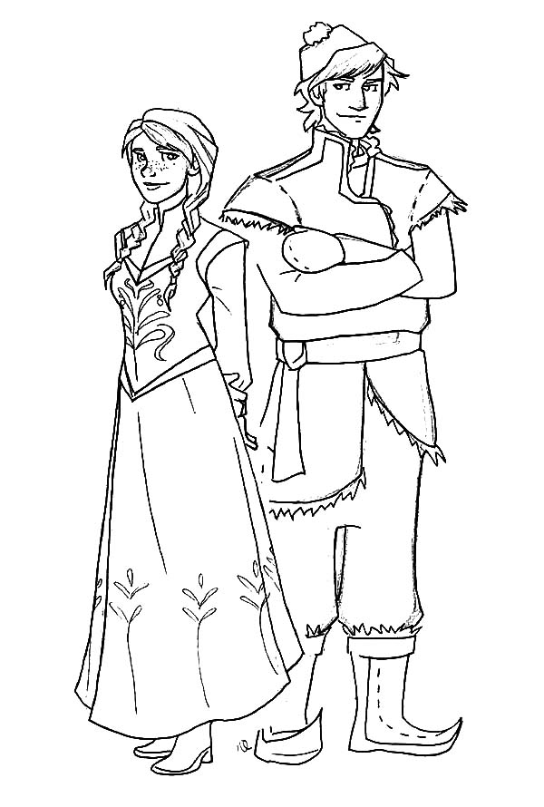 Frozen Coloring Pages Anna And Kristoff Disney Princess...