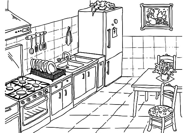 kitchen coloring pages Drawing Kitchen Coloring Pages   Download & Print Online Coloring  kitchen coloring pages
