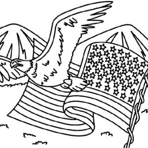 Eagle Flying On Flag Day Coloring Pages