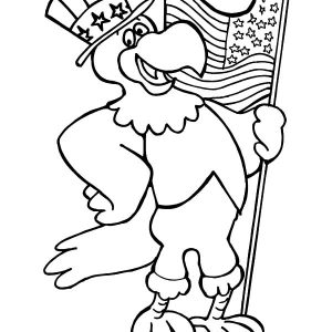 Eagle Hold On American Flag On Flag Day Coloring Pages