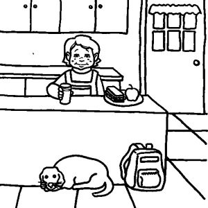 Eating Breakfast In The Kitchen Coloring Pages