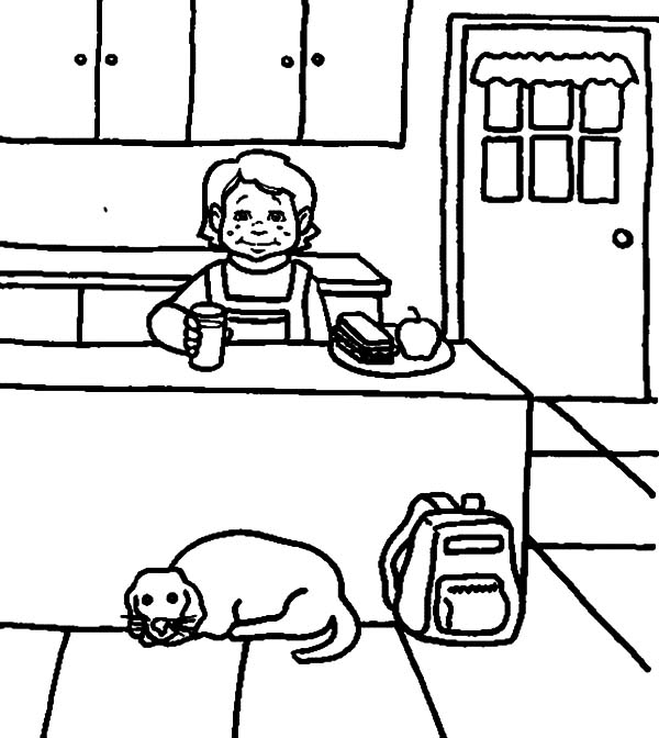 Eating Breakfast In The Kitchen Coloring Pages Download Print Online Coloring Pages For Free Color Nimbus