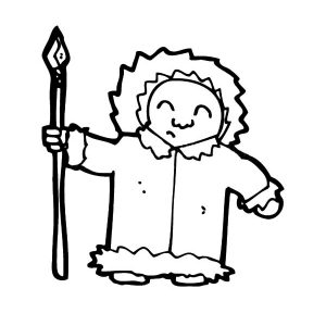 Eskimo Girl Bring Sharp Spear Coloring Pages