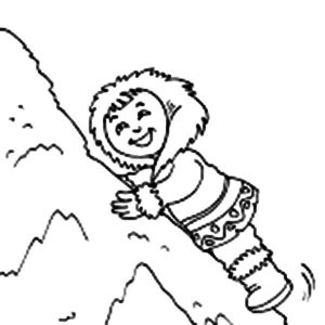 Eskimo Girl Climb Pile Of Snow Coloring Pages