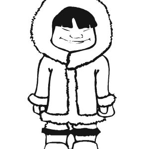 Eskimo Girl Close Her Eyes Coloring Pages