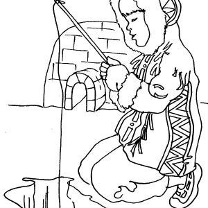 Eskimo Girl Fishing In Ice Hole Coloring Pages