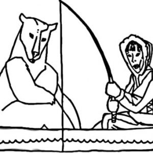 Eskimo Girl Fishing With Polar Bear Coloring Pages