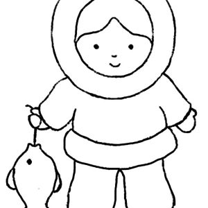 Eskimo Girl Had Big Fish Coloring Pages