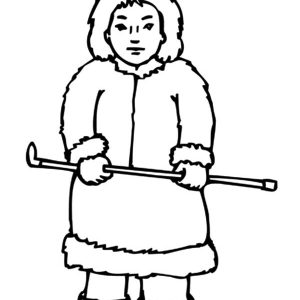 Eskimo Girl Holding Thin Stick Coloring Pages