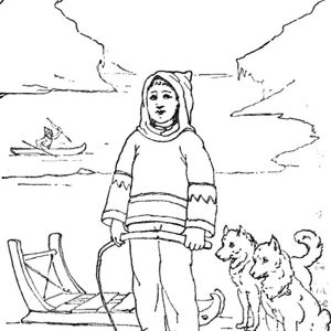 Eskimo Girl Holding Whip Coloring Pages