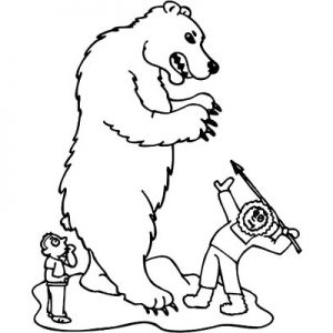 Eskimo Girl  Hunting A Polar Bear Coloring Pages