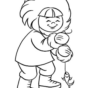 Eskimo Girl Ice Fishing Coloring Pages