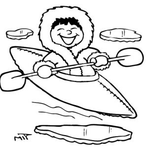 Eskimo Girl Kayaking Coloring Pages