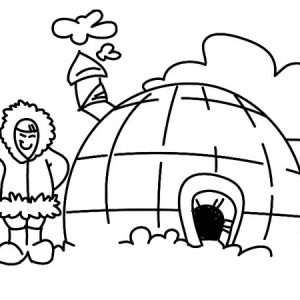 Eskimo Girl Live In Igloo Coloring Pages