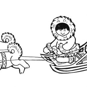 Eskimo Girl Ride Ice Carriage Coloring Pages